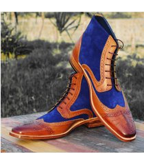 handmade ankle high leather sued boots, dress men's fashion wing tip boots
