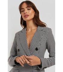 na-kd classic dogtooth blazer dress - black,white