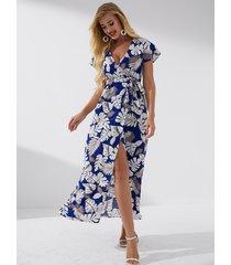 yoins mangas cortas con cuello en v y abertura tropical con cinturón azul marino de corte alto vestido