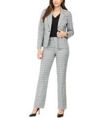 le suit plaid notch-collar pantsuit