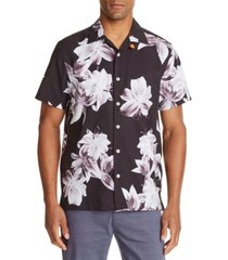 tallia men's slim fit lily print short sleeve camp shirt and a free face mask