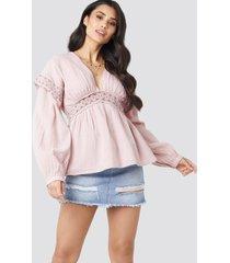 luisa lion x na-kd puff sleeve blouse - pink