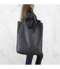 mega shopper torba grafitowa na zamek