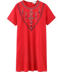 vestido recto bordado étnico rojo nicopoly