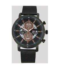 relógio cronógrafo philiph london masculino - pl80080613m preto