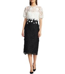 lela rose women's two-tone floral lace cocktail dress - black ivory - size 6