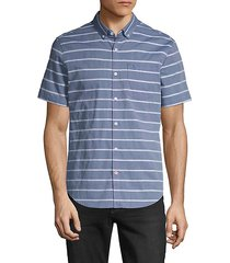 striped chambray short-sleeve shirt