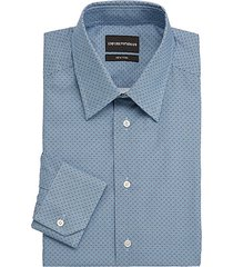 micro-pattern cotton dress shirt