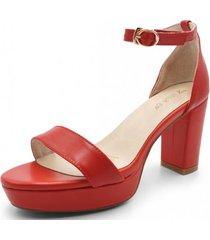 sandalia cuero amazona rojo toffy co.