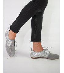 buty płaskie szaro srebrne