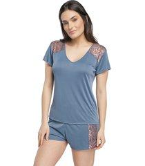 pijama feminino curto azul denim com renda rosê acobreado
