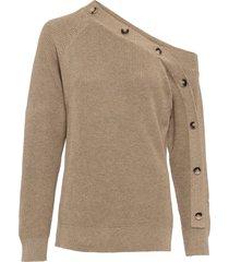 maglione con spalla scoperta e bottoni (marrone) - bodyflirt