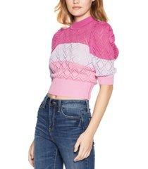 bcbgeneration striped puff-sleeve mock-neck sweater