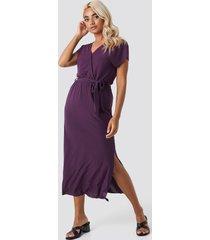 trendyol belt detailed midi dress - purple