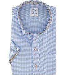 korte mouwen overhemd r2 amsterdam blauw dessin