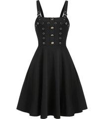 buckle strap mock button gothic dress
