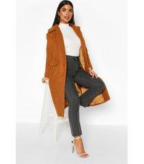 petite teddy faux fur oversized coat, camel