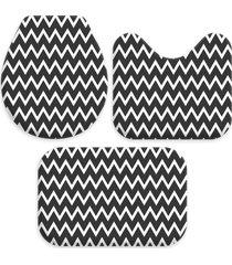 kit 3 tapetes decorativos para banheiro wevans abstrato preto - preto - dafiti