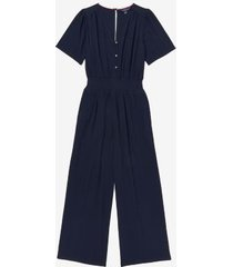 tommy hilfiger women's essential v-neck jumpsuit navy - s
