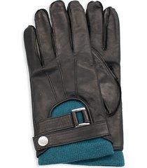 portolano men's belted-cuff leather gloves - black moro - size l