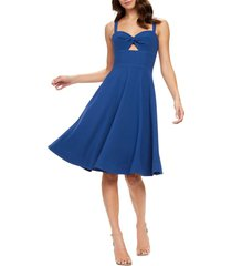 women's dress the population bianca sweetheart midi cocktail dress, size xx-large - blue