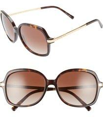 women's michael kors 57mm gradient square sunglasses - tortoise/ gold/ brown gradient