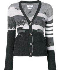 thom browne 4-bar hunting intarsia cashmere cardigan - grey