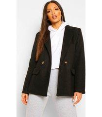 tall blazer achtige nepwollen jas, black