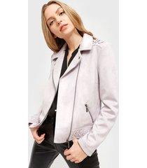 chaqueta ash antelina decoracion  morado - calce ajustado