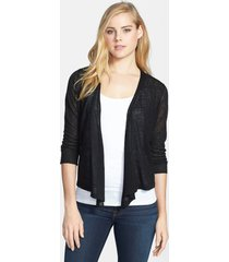 petite women's nic+zoe '4-way' convertible three-quarter sleeve cardigan, size medium p - black
