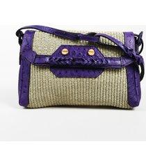 """balenciaga raffia ostrich leather """"boxwood"""" shoulder bag beige/purple sz: m"""