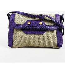 """balenciaga raffia ostrich leather """"boxwood"""" shoulder bag"""