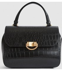 reiss lexi - leather croc embossed satchel in black, womens