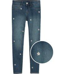 jeans flores jegging azul gap