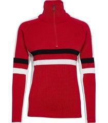 achensee w 1/2 zip stickad tröja röd 8848 altitude