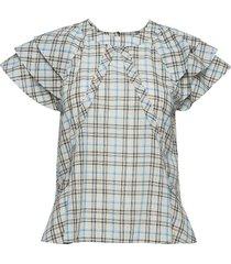 othilia check blouses short-sleeved vit custommade