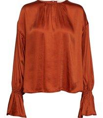 satin blouse blouse lange mouwen oranje by ti mo