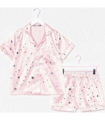womens sing me a lullaby satin shirt and shorts pajama set - pink