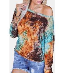 camicetta di dimensioni plus vintage a manica lunga con stampa tie dye