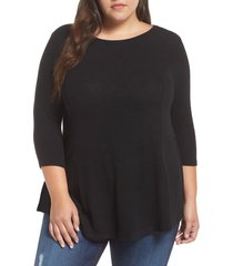 plus size women's bobeau brushed knit babydoll top, size 2x - grey