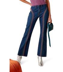 women's simon miller embroidered bell bottom jeans