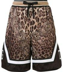 dolce & gabbana leopard logo print shorts - brown
