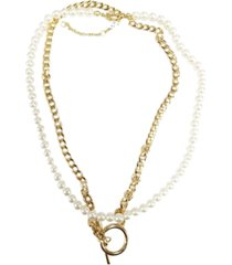 "steve madden gold-tone link & imitation pearl double-row necklace, 15-1/3"" + 2-3/4"" extender"