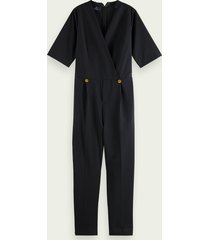 scotch & soda tailored v-neck short sleeve jumpsuit