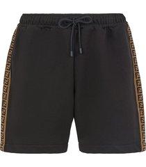 men's fendi intarsia ff motif drawstring shorts, size 46 eu - black