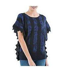 alpaca blend sweater, 'prussian blue stripes' (peru)