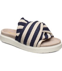 slipper knot striped shoes summer shoes flat sandals beige inuikii