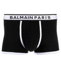 balmain cueca boxer de algodão com logo no cós - preto