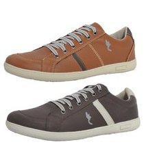 kit 2 pares sapatenis casual top franca shoes camel / cafe