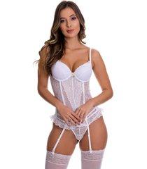 espartilho estilo sedutor transparente em renda com meia branco - vc3295 - branco - feminino - dafiti